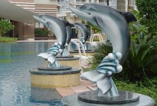卡通海豚玻璃钢雕塑